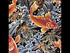 RPFTP017A Japanese Koi Fish Water Sea Wave Asian Japan Cotton Quilt Fabric