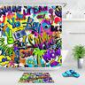 "Colorful Graffiti 71"" Bathroom Decor Waterproof Fabric Shower Curtain Bath Set"