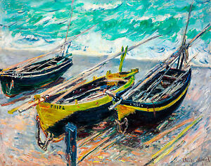 Monet 1886, Three Fishing Boats, Canvas Print, Fade Resistant HD Print or Canvas