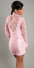 lace blush pink dress lowback keyhole turtleneck one size 8 10 12 SEXY PARTY