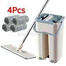 Flat Squeeze Mop And Bucket Hand Free Wringing Floor Cleaning Mops+4 Pads
