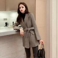 Women's 2020 Fashion Herringbone Lapel Belt Wool Blend OL Short Coat Outfit SKGB
