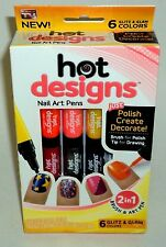 AS SEEN ON TV Hot Designs Nail Art Pens 6 Glitz & Glam Colors Brush New In Box