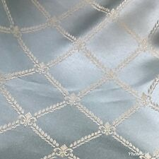 SALE! Designer Brocade Satin Fabric- Antique Silver Blue Rope Design Upholstery