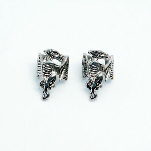 2pcs Stainless Steel Punk Gothic Dragon Ear Cuff Clip Non-Piercing Stud Earrings
