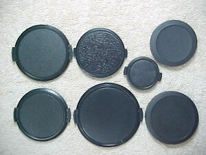 7 PLASTIC FRONT LENS CAPS 72, 62, 58, 55, & 37MM SNAP IN AND 58, 49MM  SLIP ON