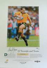 AUSTRALIA WALLABIES DAVID CAMPESE HAND SIGNED GOOSE STEP LIMITED EDITION PRINT