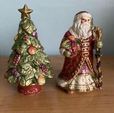 Fitz & Floyd Renaissance Salt & Pepper Santa Christmas Tree Holiday S&P in Box