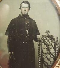 Antique Civil War Union Frock Button Kepi Ambrotype 34 Star American Flag Photo