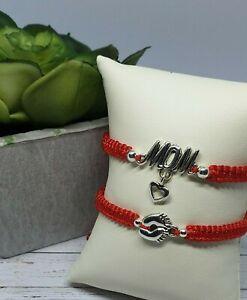 Silver Handmade Bracelet Friendship Baby Red Nylon Cord Family Bracelet