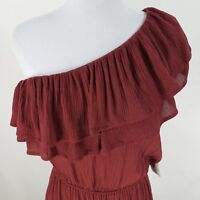Mossimo Burgundy Ruffle Dress Sz XS Small Medium One Shoulder Summer Womens