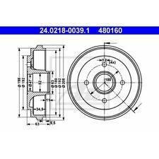 SATZ 2x ATE Bremstrommel OPEL AGILA (A) (H00)  SUZUKI WAGON R+ (MM)  VAUXHALL A