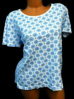 Basic editions white blue plus size floral short sleeve round neck top 1X