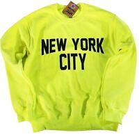 New York City Sweatshirt Screenprinted Neon Yellow Adult NYC Lennon Shirt