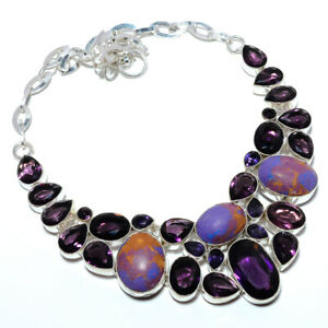 """Copper Purple Turquoise & Amethyst- 925 Sterling Silver Necklace 17.99"""" F2576"""