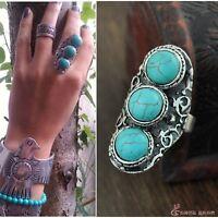 Bohemian Fashion Bohemian Retro Silver Turquoise Ethnic Band Ring