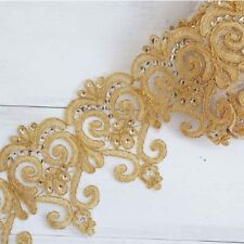 1 Yard Gold Sequins Lace Trim Crystal Ribbon DIY Bridal Dress Curtain Triming