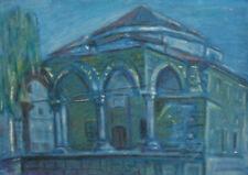 Vintage pastel painting impressionist cityscape landscape
