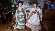 Miniature Dollhouse Artisan Porcelain 2 Sisters Victorian Doll Elaine Perkins