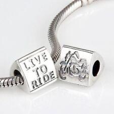 BIKER CHICK Charm Bead 925 Sterling Silver