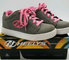 Heelys Straight Up Grey Pink Youth Roller Shoes Size 5 #770050 w/ Box Euc