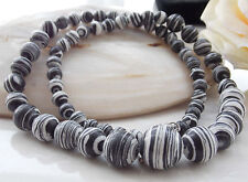 AAA 6-14mm Black White Turkey Turquoise Round Loose Beads Gem Necklace 18''