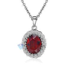 18K White Gold Plated Swarovski Crystal Oval Shape Ruby Pendant Necklace Jewelry