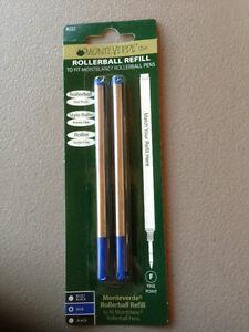 MONTBLANC BY MONTEVERDE ROLLERBALL MEDIUM Point Refill BLUE 2 Pack NEW 88516