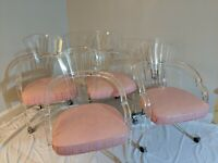 Set 4 Vintage 70s Hill Lucite Chairs Hollywood Regency MCM Mid Century Modern