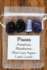 Pisces Crystal Gift Set Amethyst Bloodstone Blue Lace Agate Lapis Lazuli