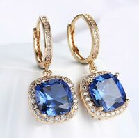 5.00CT 18K Gold Filled made with blue SWAROVSKI Crystal Drop earrings Halo ITALY