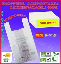 BORSE PLASTICA  BIODEGRADABILI SHOPPER  500 PEZZI MATER BI COMPOSTABILI MEDIE