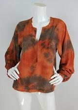 Upstate Sz XS Orange Tie Dye Silk Hook Front Neckline Peasant Sleeve Blouse Top