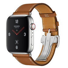 Apple Watch Series 4 Hermès 44 mm Stainless Steel Case with Fauve Barenia Leather Single Tour Deployment Buckle (GPS + Cellular) - (MU742X/A)