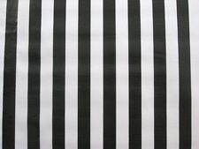 BLACK WHITE CABANA RAILROAD JAIL REF STRIPE DINE OILCLOTH VINYL TABLECLOTH 48x48