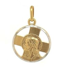 14k Two Tone Gold Cross Jesus Christ Face Charm Pendant Religious 2.6 grams