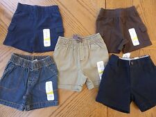 NEW boys 9 month Shorts 5 pair LOT $61 msrp Great Mix of Solid Colors Summer NWT