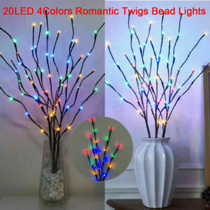2X 20LED Romantic Twigs Bead Lights Branch Indoor Party Decor Twig Lamp Colorful