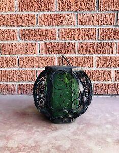 Vintage Spanish Revival Gothic Green Slag Glass Pendant Hanging Swag Fixture