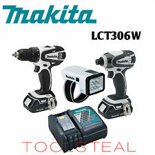 Makita LCT306W 18-Volt Compact Li-Ion Cordless 3-Piece Combo With BL1815, DC18RC