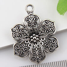 6Pcs Tibetan Silver Flower Pendants Charms 24*24mm 1A1804