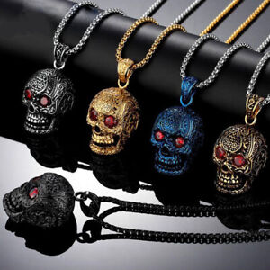 Gothic Skull Pendant Chain Retro Silver Stainless Steel Punk Hip Hop Necklace