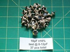 Capacitors Silver Mica Button 10 pF 12 Vintage Standoff Type Caps #3-48 Hole NOS
