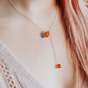 Initial Personalised Necklace Amber Sterling SIlver Necklace Heart Love Pendant