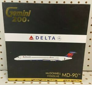 "Gemini 200 1:200 Delta McDonnell Douglas MD-90 6.25"" W/S Tail # N904DA #G2DAL719"