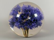 More details for vintage hafod grange acrylic cornflower paperweight globe 1999 vgc collectable