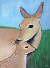 Mother and Baby -DEER and FAWN -ORIGINAL FOLK PAINTING sgd Wendy Presseisen