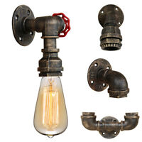 Vintage Industrial Iron Water Pipe Steampunk Wall Lamp Sconce Light Fixture