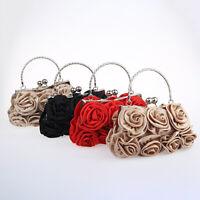 KQ_ Women Elegant Silk Rose Flower Clutch Bag Evening Party Bridal Handbag Healt