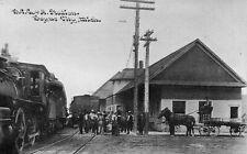 BOYNE CITY Michigan postcard train BCC & A depot Charlevoix County C U Williams